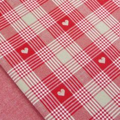 Cherry red, linen and cream heart check fabric / country vintage Christmas