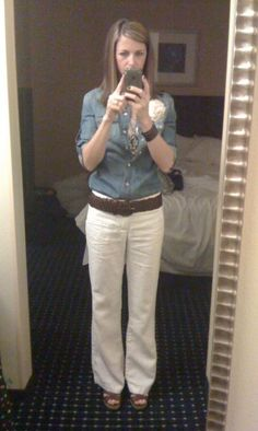 chambray shirt, sparkle tank, white linen pants, chunky belt and wedges -- I have all these pieces!