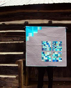 blue squares improv baby quilt by greenleaf goods