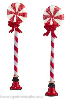 DEPT 56 VILLAGE ACCESSORIES -  PEPPERMINT STREET LIGHTS -  SET/2 - NEW FOR 2012