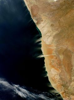 Cloudless skies allowed a clear view of dust and hydrogen sulfide plumes along the coast of Namibia in early August – Image Credit: NASA North American Plate, Purple Alien, Hydrogen Sulfide, Balanced Rock, Earth Photos, Shot Photo, Hubble Space Telescope, The Dunes, Colour Images