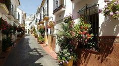 Calle San Cayetano, Estepona. Macetas amarillas.