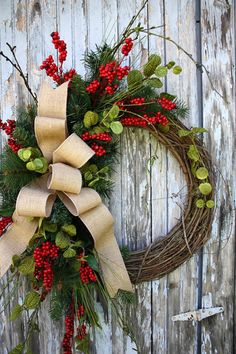 Christmas Wreath ~ red berries, green lunaria, evergreens, burlap ribbon, grapevine wreath base