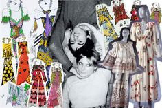 Celia Birtwell and former husband, Ossie Clark, board x collection...