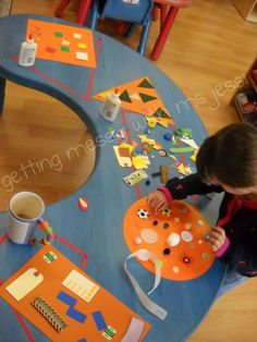 sorting shapes collages for the art table.