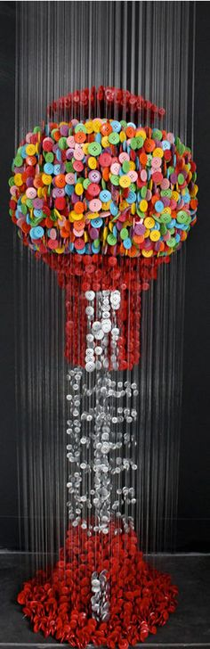 suspended sewing button sculptures by augusto esquivel (more inside)