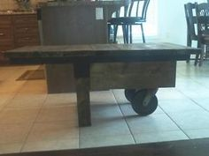 Reclaimed wooden cart coffee table with metal frame and wheels Kitchener / Waterloo Kitchener Area image 1