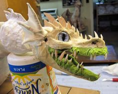 "As I was putting this post together I realized that the ""Rum and Paper Mache"" video is actually a better tool for showing how I Paper Mache Projects, Paper Mache Crafts, Diy Paper, Paper Art, Dragon Puppet, Paper Mache Sculpture, Paper Sculptures, Dragon Mask, Dragon Costume"