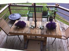 Wood Pallet Patio Table by EmersonStudios on Etsy, $450.00    Im pretty sure John can make this for $30.00 ...they are selling it for $450.00?!?!