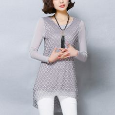 >> Click to Buy << Fashion Women Shirt Long Sleeve Round Collar Sexy Lace Patchwork Slim Casual Solid Color Blouse  #Affiliate
