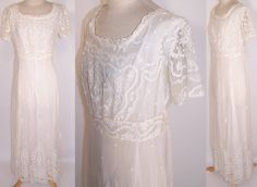 White Net Tambour Embroidery Lace Empire Waist Wedding Gown Dress