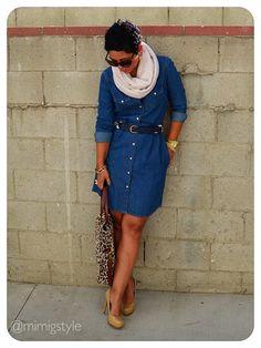OOTD: #Gap Shirt Dress and DIY Scarf  Details @ www.mimigstyle.com