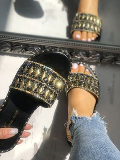 Shop Shiny Sequins Rivets Embellished Sandals – Discover sexy women fashion at Boutiquefeel Cute Sandals, Cute Shoes, Me Too Shoes, Shoes Sandals, Women Sandals, Shoes Women, Flat Sandals, Chanel Sandals, Ladies Shoes