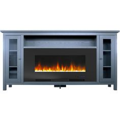 Cambridge Somerset 70 in. Gray Electric Fireplace TV Stand in Multi-Color with LED Flames Crystal Rock Display and Remote Control, Grey/Black Black Electric Fireplace, Electric Fireplace Tv Stand, Tv Stand With Fireplace, Electric Fireplaces, Fireplace Ideas, Electric Fireplace Entertainment Center, Black Fireplace, Stone Fireplaces, Fireplace Mantels