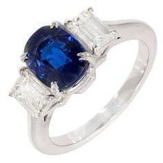 Peter Suchy Cushion Cut Natural Sapphire Diamond Platinum Ring