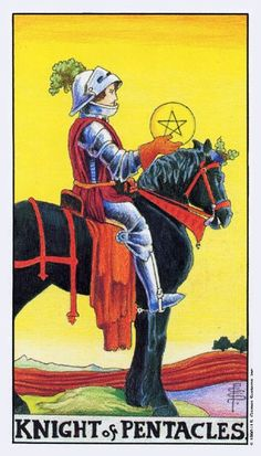 Detailed Tarot card meaning for the Knight of Pentacles including upright and reversed card meanings. Access the Biddy Tarot Card Meanings database - an extensive Tarot resource. Tarot Significado, Love Tarot Reading, Tarot Gratis, Rider Waite Tarot, Free Tarot, Daily Tarot, Tarot Card Meanings, Mystique, Pentacle