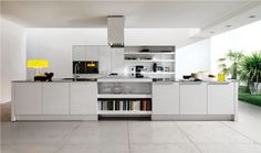 Contemporary Kitchens Designs: Awesome Decoration For Luxury Latest Kitchen Designs Listed In Great Minimalist Modern Home Interior White Themed Kitchen Table Mixed With Shelve Storage Unit And Cooker Hood ~ darvoda.com Kitchen Design Inspiration