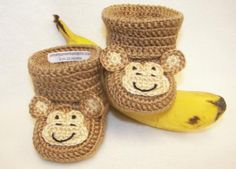 Crocheted Monkey Baby Booties from Pitter Patter Baby Gifts - need to figure out how to make these for Cooper