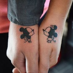 Here are Tiny Couples Matching Tattoos Ideas for every tattoos lover couple. Please check and get ideas about having matching tattoos with your partner. You can express your feelings about these tattoos in comments below. Couple Disney, Disney Couple Tattoos, Couple Tattoos Love, Couple Tattoo Ideas, Couple Ideas, Tattoos Motive, Tribal Tattoos, Tatoo Mickey, Mickey And Minnie Tattoos