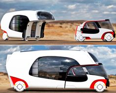 Colim Caravan with 2 Detachable Parts: Car and Mobile Home. The German designer Christian Susana created an intelligent mobile home. It has a flexible living space with individually applicable multi-functional modules. Equipped with auto technology and modern amenities this RV can be a small car when you don't need the RV and a whole RV when you actually need one.
