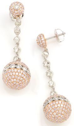 Make a statement with these white diamond earrings. Estate 5.11 ctw Diamond Round 18K 2 Tone Gold Dangle Earrings Approx.Wt.