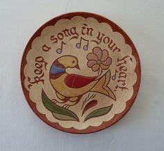 Vintage Redware Pottery Plate of Folk Art Bird - Distelfink - Handmade in PA Pottery Plates, Display Case, Folk Art, Ceramics, Bird, Handmade, Pictures, Etsy, Vintage