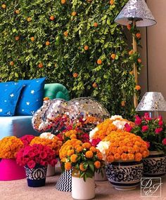 Colourful flower pots with silver elephant for mehendi. Diwali Decorations, Indian Wedding Decorations, Flower Decorations, Table Decorations, Telugu Brides, Telugu Wedding, Flowers In Jars, Flower Pots, South Indian Bride