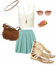 White Lace Corset + Sky Blue Pleated A-line Skirt + Tan Sandals + Brown Fringe Purse + Multicolor Stacked Bracelets