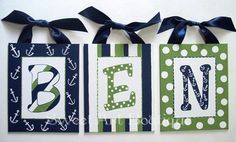 Nautical Blue Green custom 6x8 canvas letter by Sweetartandparty, $11.50