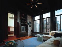 loft with large windows & great cityscape view