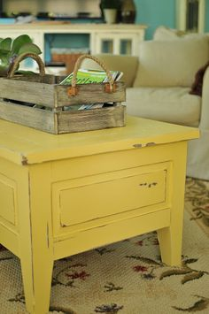 I love this yellow coffee table! Martha Stewart cornbread yellow