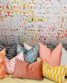 Brit Pop Wallpaper by Elitis // Writers Retreat by Kriste Michelini Interiors #wallpaper