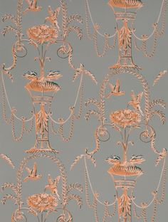 Adelphi Custom and Historic Wallpaper and Paper Hangings - Arabesque Pigeons (Colorway C)