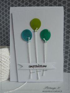 un envol de ballons - carte naissance / félicitations / ballons / perforatrice