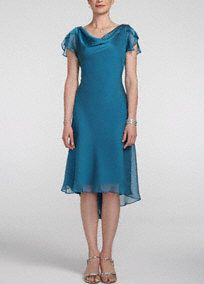 comes in purpleElegant and fun, you will sure to stand out in this whimiscal ensemble!   Flutter sleeve and drape neckline is unique and classy.  Back brooch detail adds a touch of sparkle to this already stunning dress.  Fully lined. Imported polyester. Dry clean only.