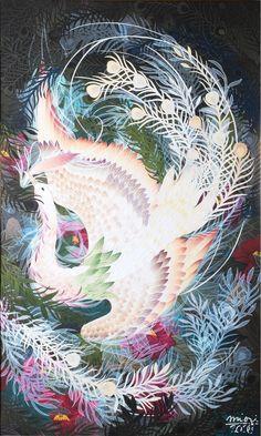 Paper cut art Phoenix Art Pictures, Art Images, Phoenix Bird, Bird Quilt, Political Art, Fantasy Paintings, Japan Art, Fantastic Art, Chinese Art