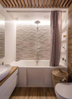 revêtement mural salle de bain en panneaux 3D et lambris en bois