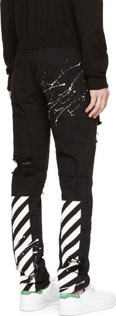 Off-white: Black Logo Distressed Jeans