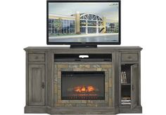 Bartlett II Gray 2 Pc 71 in. Console with Firebox .788.0. 71W x 20D x 39H. Find affordable TV Consoles for your home that will complement the rest of your furniture.  #iSofa #roomstogo