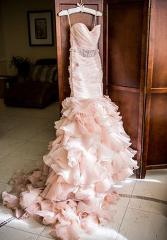 Pink wedding dress with ruffles  by Maggie Sottero #pinkweddingdress
