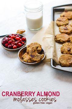 Paleo Vegan Cranberry Almond Molasses Cookies! | Cotter Crunch