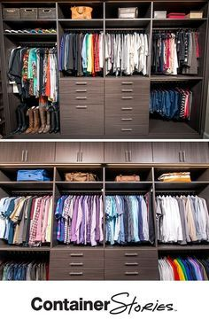 One of the things Cathy wanted in her new space was a place for dirty clothes. The bottom drawer conceals one of two Hampers. Above, blouses and shirts are arranged by color and type. Shelves are a great place to display purses.