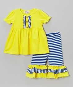 Love this Yellow Tunic & Blue Stripe Capri Pants - Infant & Toddler by Whimsical by Molly Pop Inc. on #zulily! #zulilyfinds