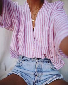 Striped shirt with denim shorts for summer days