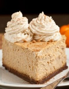 NY style Pumpkin Cheesecake that's high, dense, rich, and full of the best fall flavors. On top of a gingersnap crust!