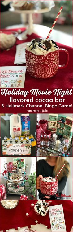 Holiday movie night, flavored hot cocoa bar and Hallmark Channel Movie printable BINGO Game!