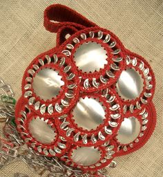 Bag with pop tabs .