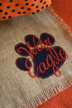 War Eagle / Paw Print  Burlap Placemats Set of by Monogramsandmore, $32.00