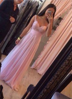 Custom Made Pink A Line Long Prom Dresses 2015, Dresses for prom, Pink Long Evening Dresses, Pink Long Formal Dresses