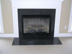 granite fireplace - not this mantle, though